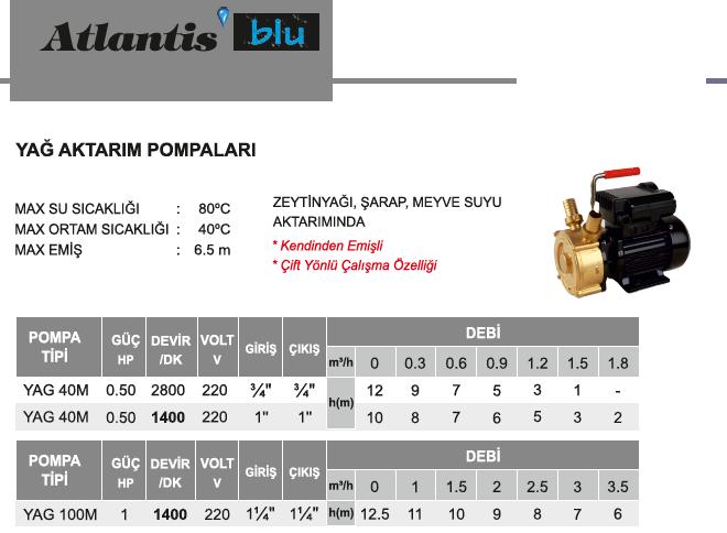 ATLANTİS, ATLANTİS YAG 40M 0.50 HP 220V YAĞ AKTARIM POMPALARI 2800 ...